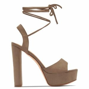 Taupe Platforms Lace up Heels